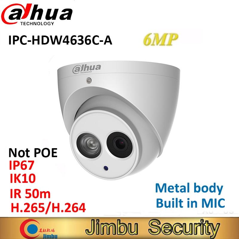 Dahua H 265 6MP IP Camera IPC HDW4636C A Metal casing Built in MIC IR50m IP67
