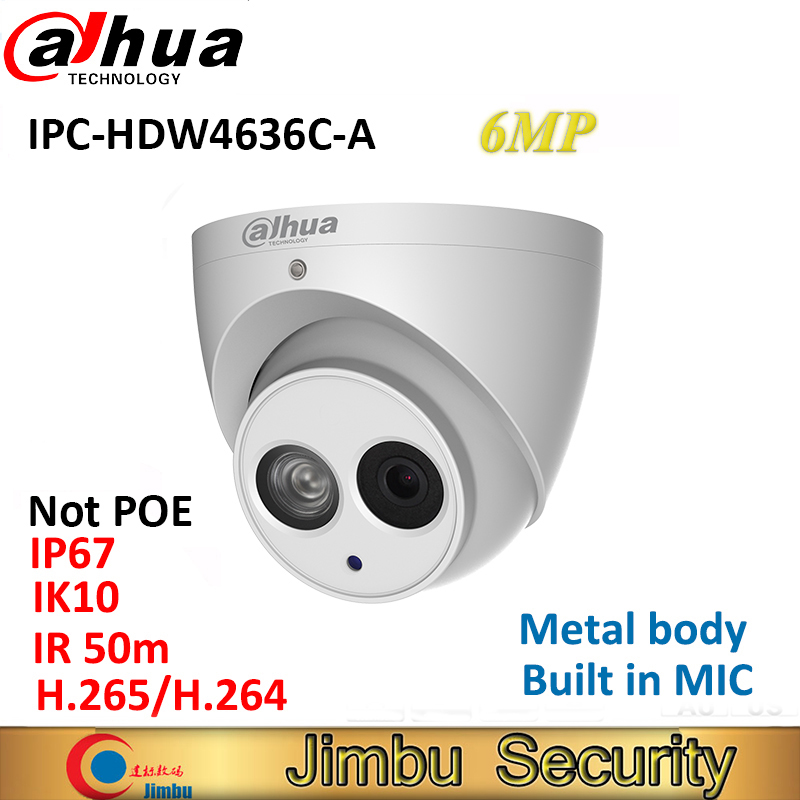 Dahua H.265 6MP IP Caméra IPC-HDW4636C-A boîtier Métallique MICRO Intégré IR50m IP67 IK10 multiples languag Pas POE Dôme CCTV caméra