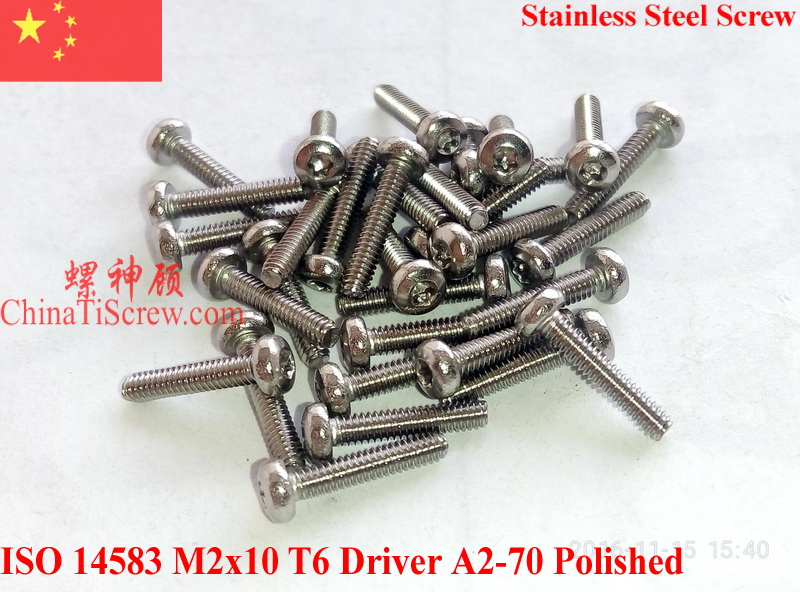 Stainless Steel Screws M2x10 ISO 14583 Pan Head Torx T6 Driver A2-70 Polished ROHS 100 pcs