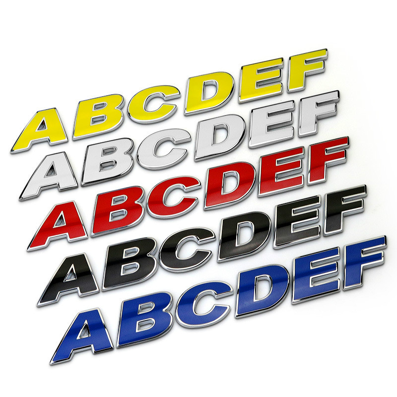 Car Styling A-Z / 0-9 3D Metal Colorful Letters Emblem Chrome DIY Car Sticker Badge Auto Logo Accessories Motorcycle Sticker dsycar 3d metal sport car sticker emblem badge for for universal cars motorcycle car styling decorative accessories chevrolet ds