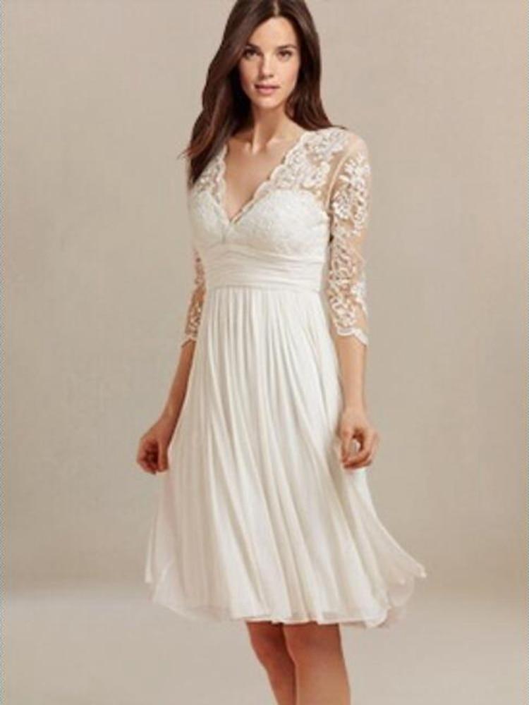 Short Wedding Dress, Short Beach Wedding Dress With Sleeves, Bride Dress Bridal Gown Superbweddingdress