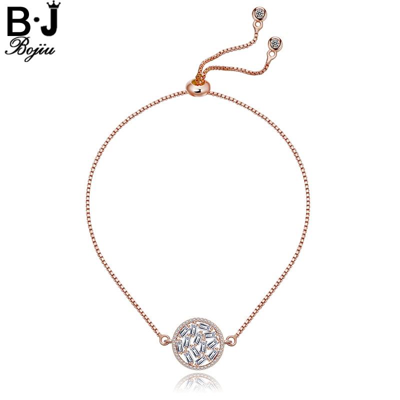 Bojiu Elegant Rhinestones Bracelets Copper Box Chain Round