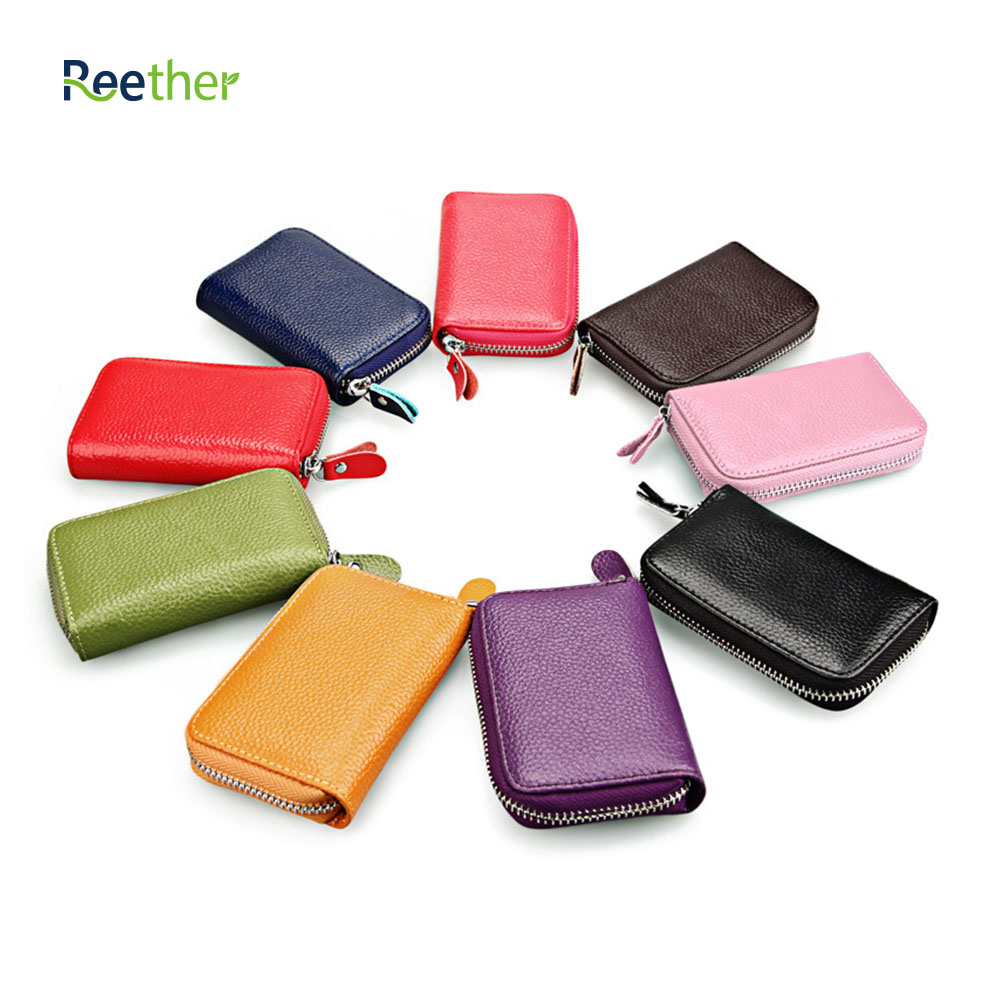 REETHER Card Bags Credit Card Holder Pickup Package ID Card Bank Card Case Document Organizer Wallet w/Zipper Customized Gifts