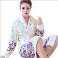 Mujeres Albornoz Invierno Coral Cálida Lana de Las Mujeres del Camisón Albornoz Kimono Floral Bata Femenina Ropa de Dormir Ropa de Hogar