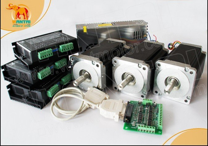 Great Kit! Wantai 3 Axis Nema34 Stepper Motor 85BYGH450C-012 1600oz-in+Driver DQ860MA 80V 7.8A 256 Micro+2PCS Power Supply 48V 80 1600