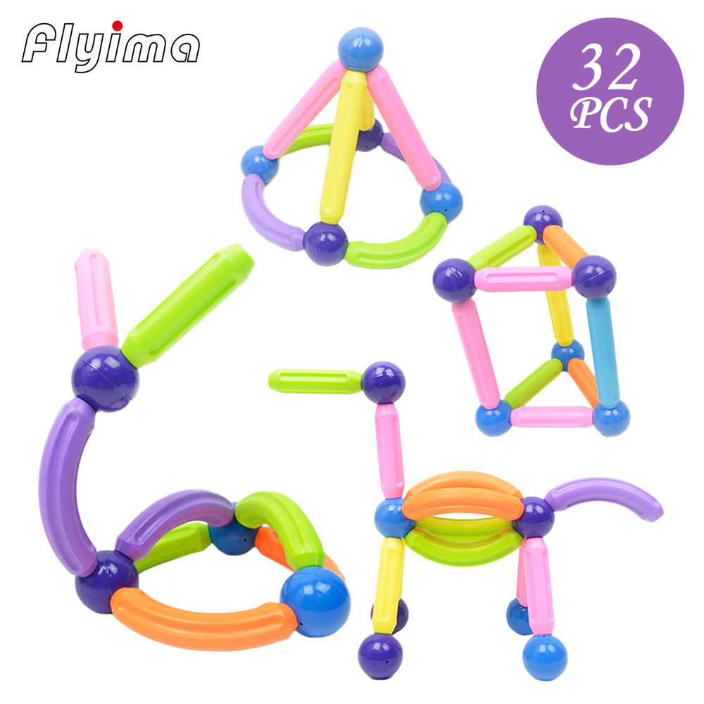 32pcs magnetic toys designer sticks and balls blocks Educational Kids Toy Building magnet block DIY bars toys for children