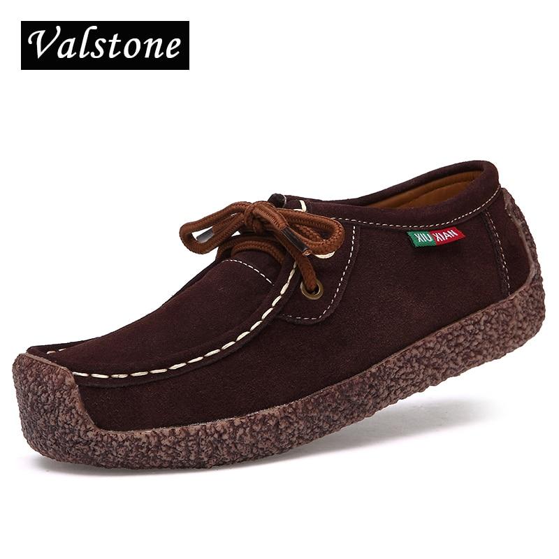 Valstone 2017 נשים סתיו הגעה חדשות נעלי עור זמש מזדמנים אופנתי חילזון באיכות פנאי נהיגה נעלי תחרת ups