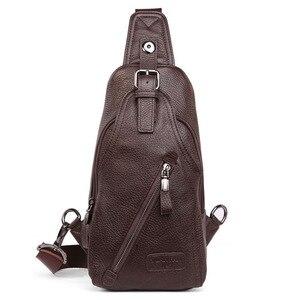 Image 5 - حقيبة كتف مفرد للرجال ذات جودة عالية مصنوعة من جلد البقر حقيبة ظهر بحمالة رافعة