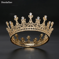 2019 New Golden Transparent Crystal Round Bridal Crown Rhinestone Hair Accessories Fashion Baroque Wedding Bridal Head Jewelry