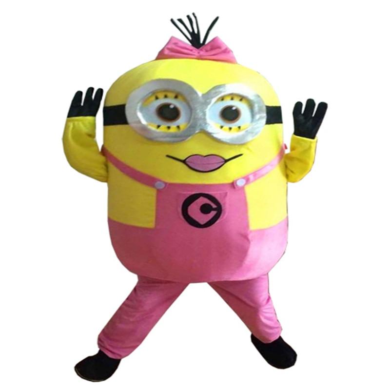 New Arrive Minions girls  Mascot Costume Adult Character Costume Cosplay Mascot Costume Free Shipping