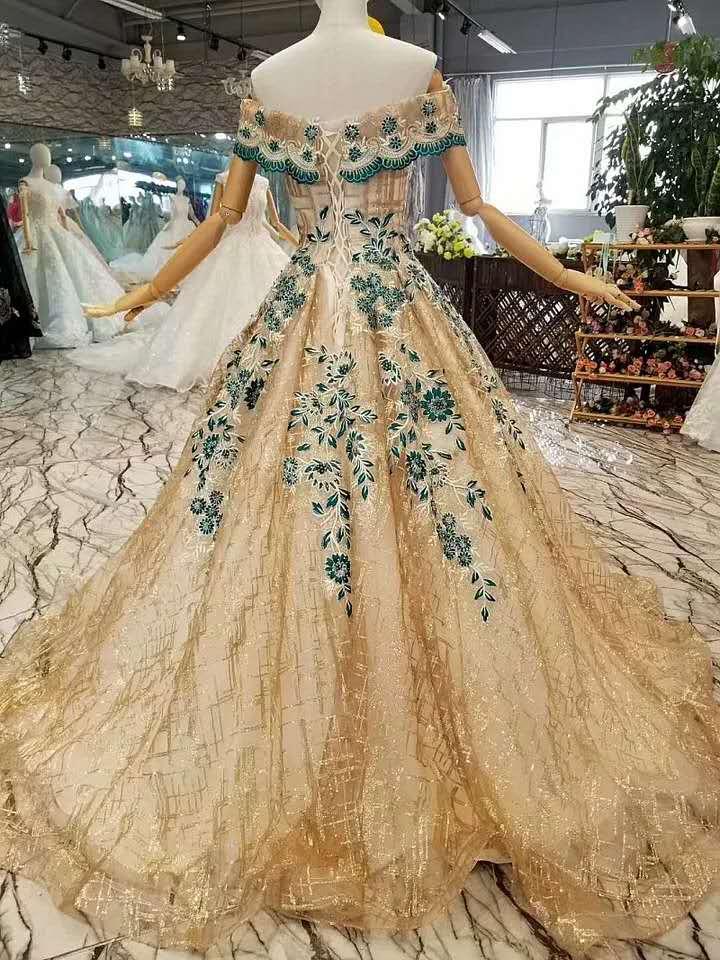 CloverBridal glitter bling A line longitud del piso del hombro dorado verde vestidos de graduación 2019 nuevos vestidos de fiesta largos - 2