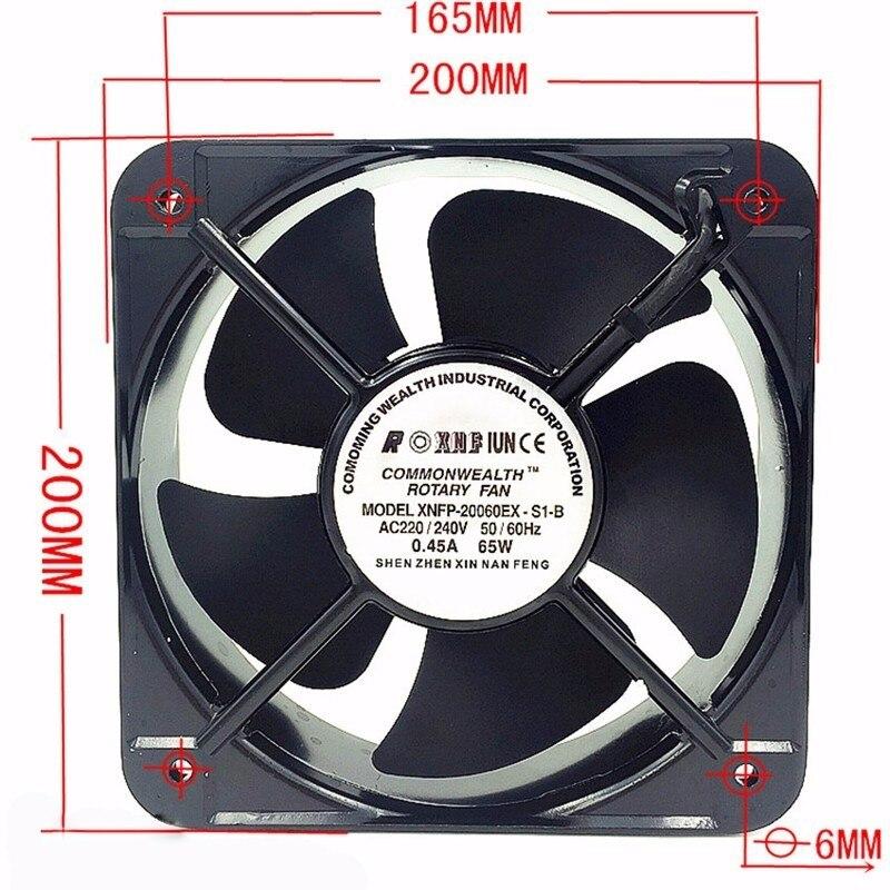 New FP20060EX-S1-B  20CM 200x200x60 MM 20060 AC 220V Double Ball Bearing Case Industrial Axial Fan