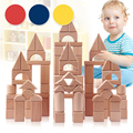 Montessori Toys 100PCS Wood Block No Painting Ecofriendly Non-toxic Baby Child Building Blocks Food Grade Teether Toys