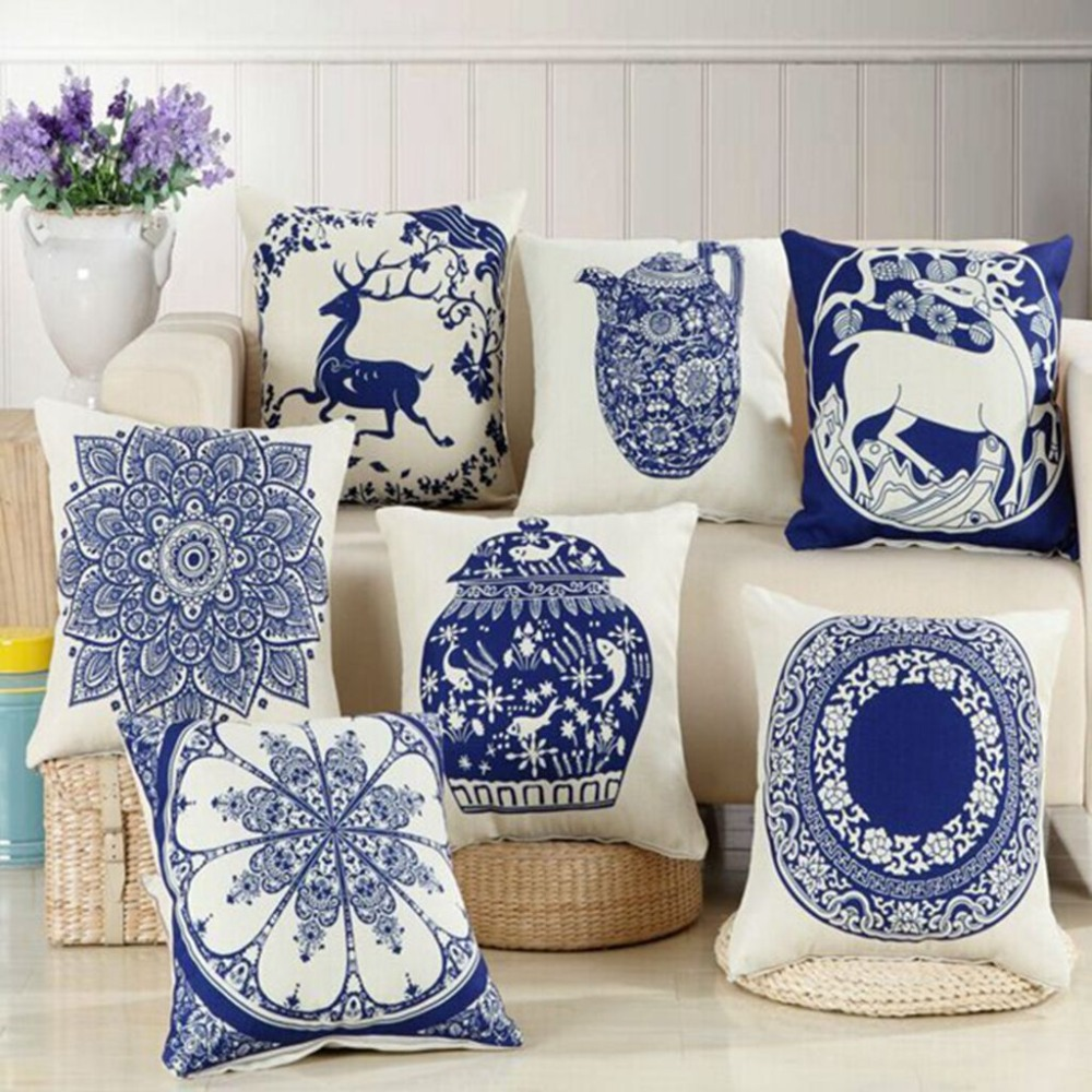 Porcelain Blue Decorative Pillows : Chinese Style Decorative Pillows Blue And White Porcelain Florals Pattern Cushion High Quality ...