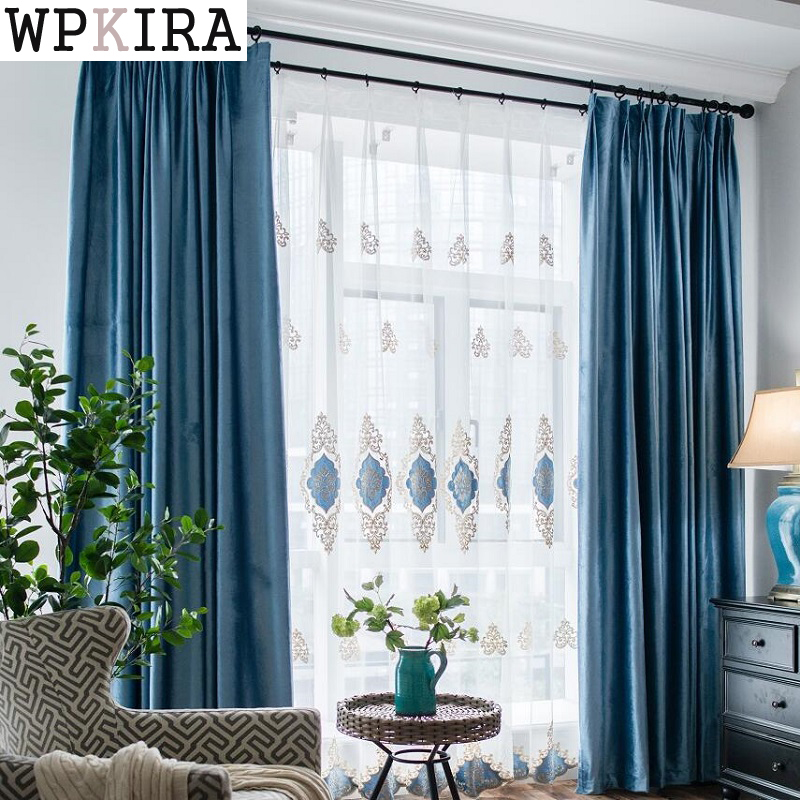 Excellent Us 11 79 31 Off Blue Blackout Curtains For Living Room Hotel European Simple Design Window Drape Embroidered Tulle Flannelette Curtains S31530 In Home Interior And Landscaping Synyenasavecom