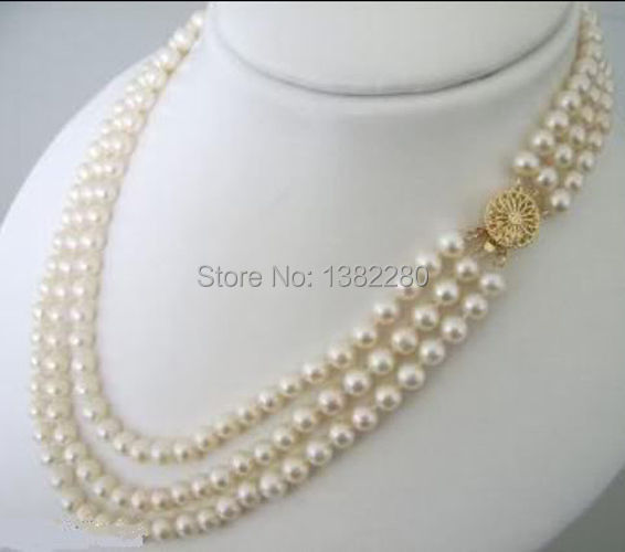 Free shipping!3 Rows 7-8mm White freshwater pearls necklace 17-19inch Female fashion jewelry JT5070