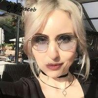 2017 New Unique Hexagon Sunglass Women Men Brand Designer Transparent Clear Mirror Sun Glasses Female Ladies