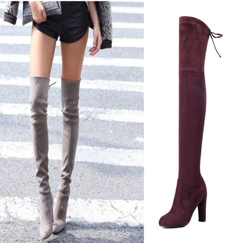LDHZXC 2018 new Women Stretch Faux Suede Thigh High Boots Sexy Fashion over-the-knee boots High Heels Woman Shoes купить недорого в Москве