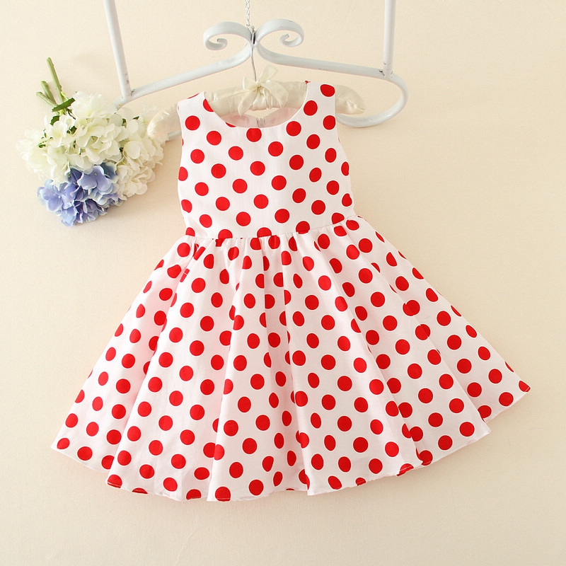 Summer Vintage Retro Polka Dot Children's Sleeveless O Neck Girls Pleated Dress Princess Bow Party Sundress vestidos infantis женское платье summer dress 2015cute o women dress