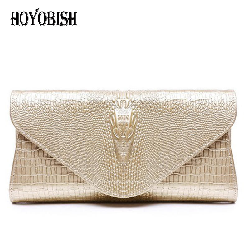 HOYOBISH Crocodile Genuine Leather Ladies Evening Bags Real Leather Women Clutch Bag For Party Luxury Chain