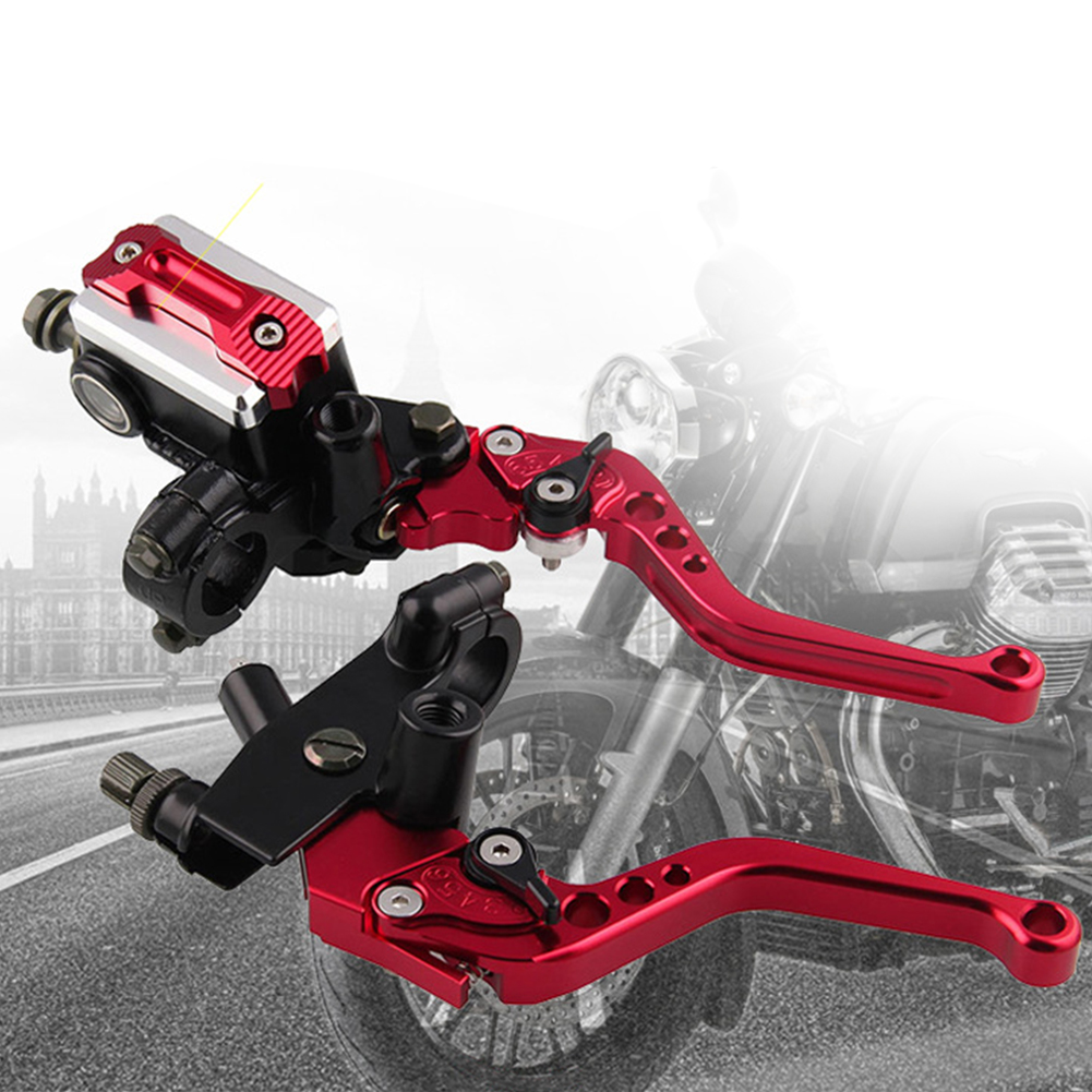 1 Pair Left Right Pump Accessories Motorcycle Clutch Handle Aluminium Alloy Levers Cylinder Adjustable Hand Brake Hydraulic 22cm