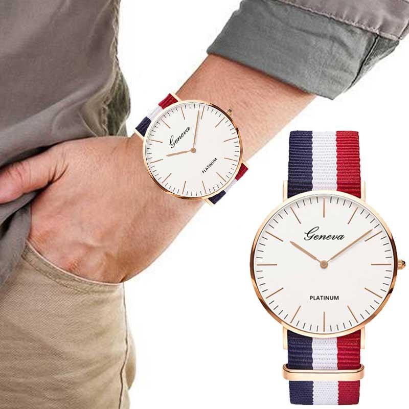 Stripe Nylon Band Quartz Wristwatch Casual Lady Woman Watch Montre Femme  Horloges