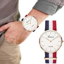 Top Luxury Brand Stripe Nylon Band Watch Men Quartz Wristwatch Casual Lady Woman Watch Montre Femme Reloj Mujer Horloges(China)