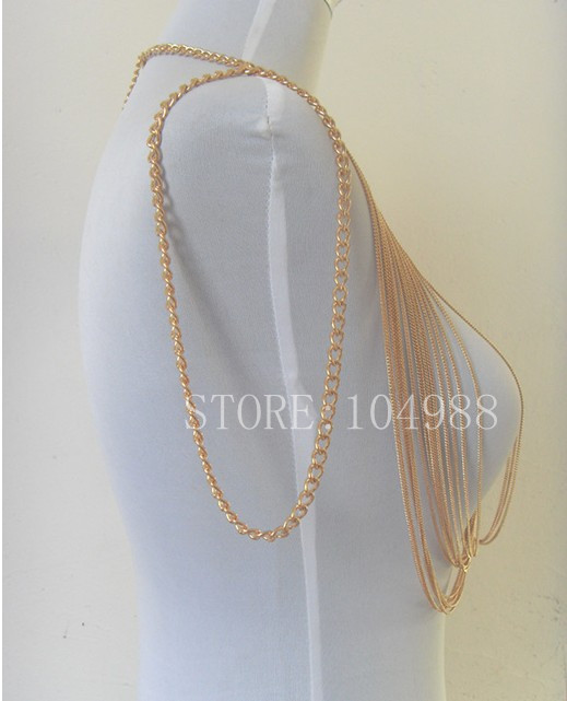 New arrival! gold colour metal Body Chains jewelry multilayer tassel choker necklace Exaggerated bib jewel