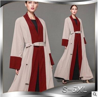 2018 más tamaño túnica femenina Rebeca Dubai Abaya Flaren remiendo de La Manga Oriente Medio Malasia largo islámico musulmán Abaya HJ436