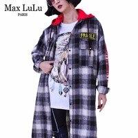 マックスルル高級韓国デザイナー女の子フード付きストリートレディース3d格子縞のシャツコットン長袖ブラウス女性特大服
