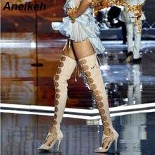 Aneikeh/пикантные летние женские ботинки с перекрестной шнуровкой г. Пикантная обувь на высоком каблуке на молнии флоковые ботфорты выше колена, женская обувь размера плюс 42