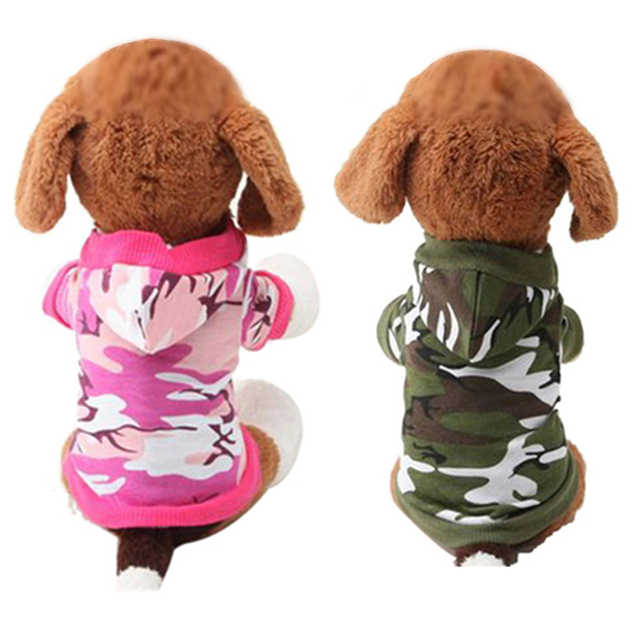 1 PZ XS, S, M, L Vestiti Del Cane Pet Felpa Camo Camouflage Cappotti Con Cappucc