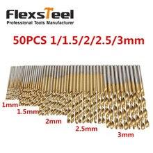 цена на New 50Pcs/Set Twist Drill Bit Set Saw Set HSS High Steel Titanium Coated Drill Woodworking Wood Tool 1/1.5/2/2.5/3mm For Metal