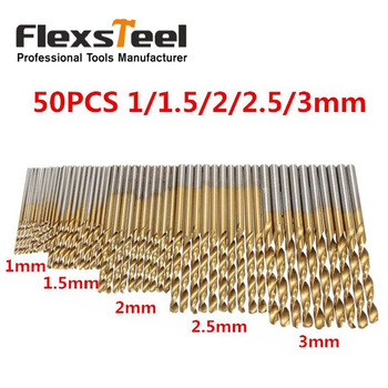 50pcs 100pcs 1 3mm titanium coated twist drill bit high steel for woodworking aluminium alloy angle iron plastic drill bit set 50pcs/set Twist Drill Bit Set Saw Set 1/1.5/2/2.5/3mm HSS High Steel Titanium Coated Woodworking Wood Tool Drilling For Metal