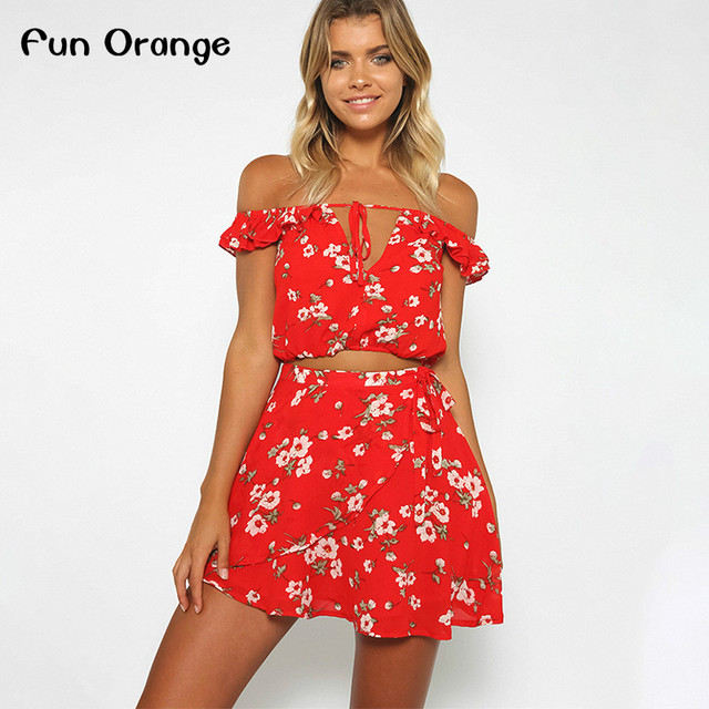 Fun Orange Two Piece Red Chiffon Summer Dress Women 2017 Vintage Party Ruffles Short