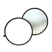 Saco livre 2 em 1 luz mulit dobrável branco e prata fotografia refletor 60cm foto acessórios para a luz do flash
