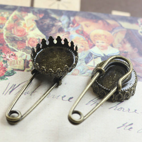 15mm China Jewelry Making 10pcs Wholesale ANTIQUE BRONZE Crown Cabochon Cameo Setting Tray Brooch Blank Base with safety pin