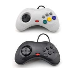 Para sega saturn usb clássico controlador de jogo com fio usb gamepad controlador joystick joypad para saturno sistema preto/branco
