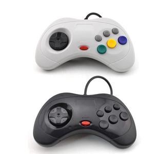 Image 1 - Sega Saturn contrôleur de jeu classique USB, contrôleur de jeu filaire USB, Gamepad, JoyPad pour système USB, noir/blanc