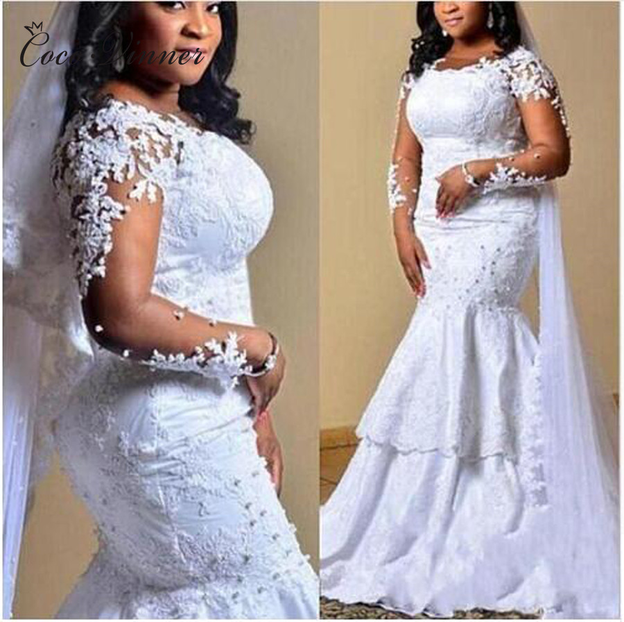 Long Sleeve Satin Mermaid Wedding Dresses 2020 New Africa Style Pearl Beads Embroidery Appliques Wedding Dress Bridal Gown W0402