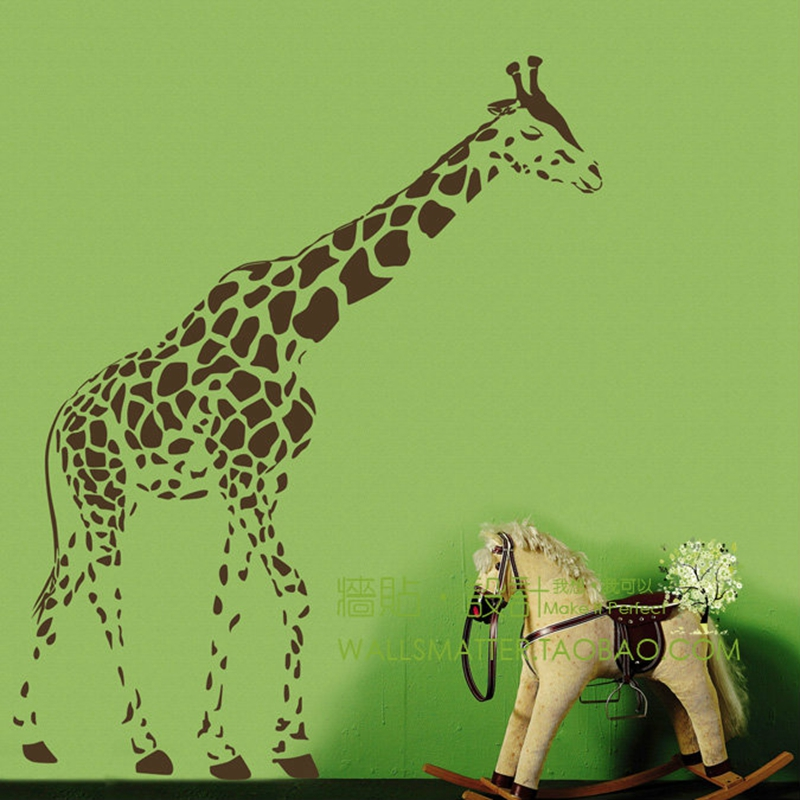 Creative giraffe mural wall stickers glass stickers living room bedroom sofa backdrop giraffe stickers free shipping