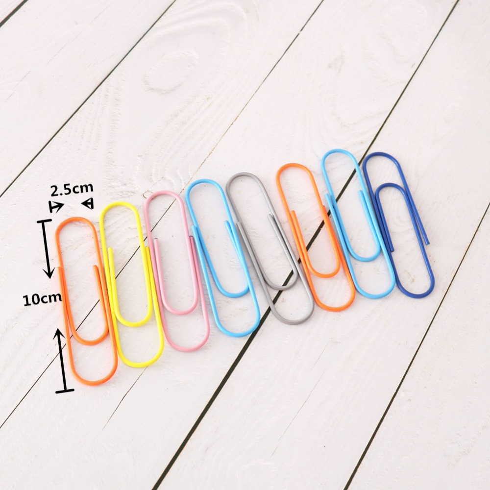 TUTU 8pcs/lot Mix Colors 100MM Large Paper Clips Student Stationery Large Metal Clip CUTE Office Accessories BOOKMARK H0277
