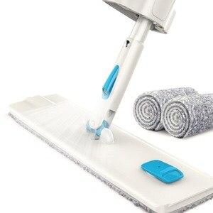 Image 1 - Narzędzia do czyszczenia podłogi Mop z mikrofibry płaski Mop obrotowy Self Wringing nie ma potrzeby do mycia rąk na mokro i na sucho Mop podłogowy z 2 mopów
