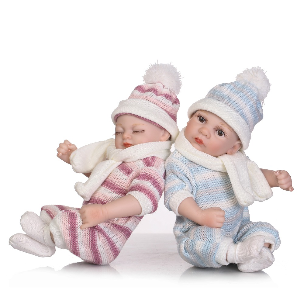 2017 hot sale mini twin doll lifelike reborn baby wholesale soft real touch baby dolls fashion little doll hot sale 12cm foreign chavo genuine peluche plush toys character mini humanoid dolls