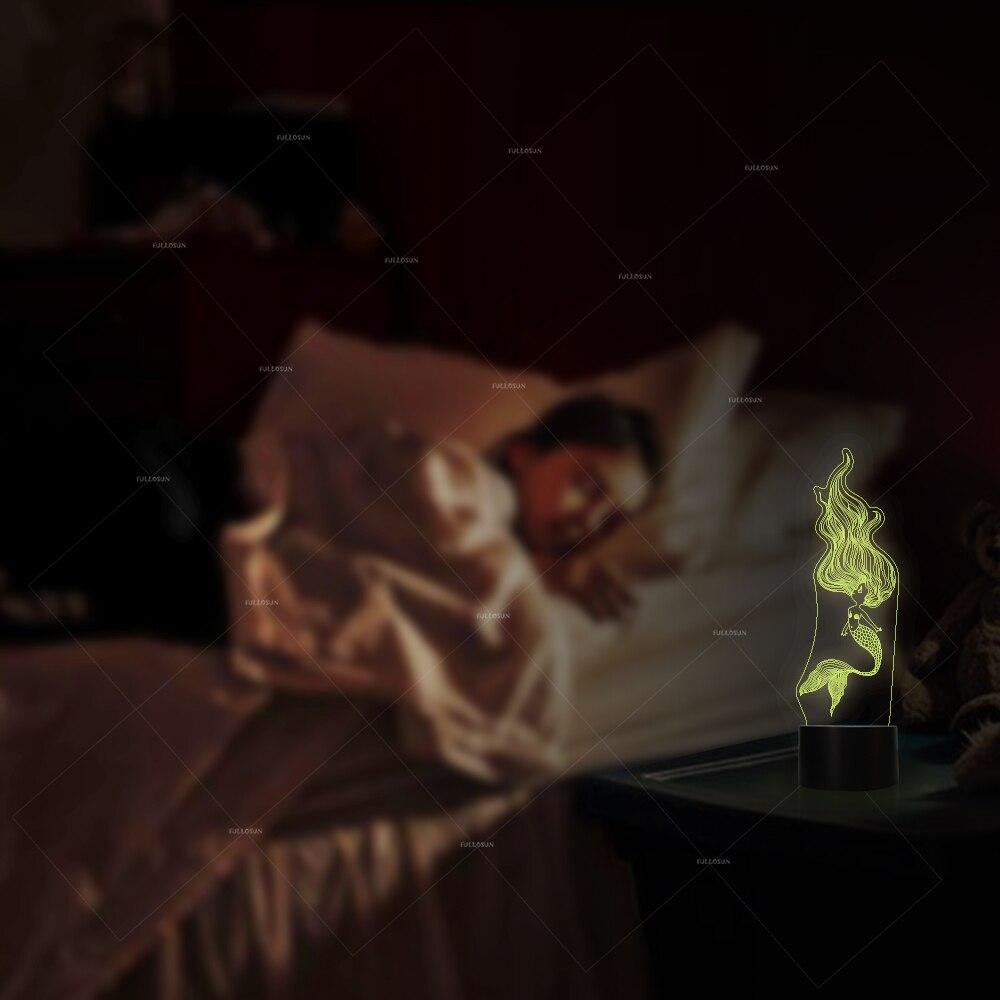 Vente 3d Night Light Belle Sirene Forme 7 Couleur Lampe De Table Usb