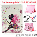 Роскошные Стенд с алмаз pu Кожаный Чехол Обложка capa para для Samsung Galaxy Tab S2 9.7 ''T810 T815 9.7 ''tablet ПК + OTG + ручка + Пленка