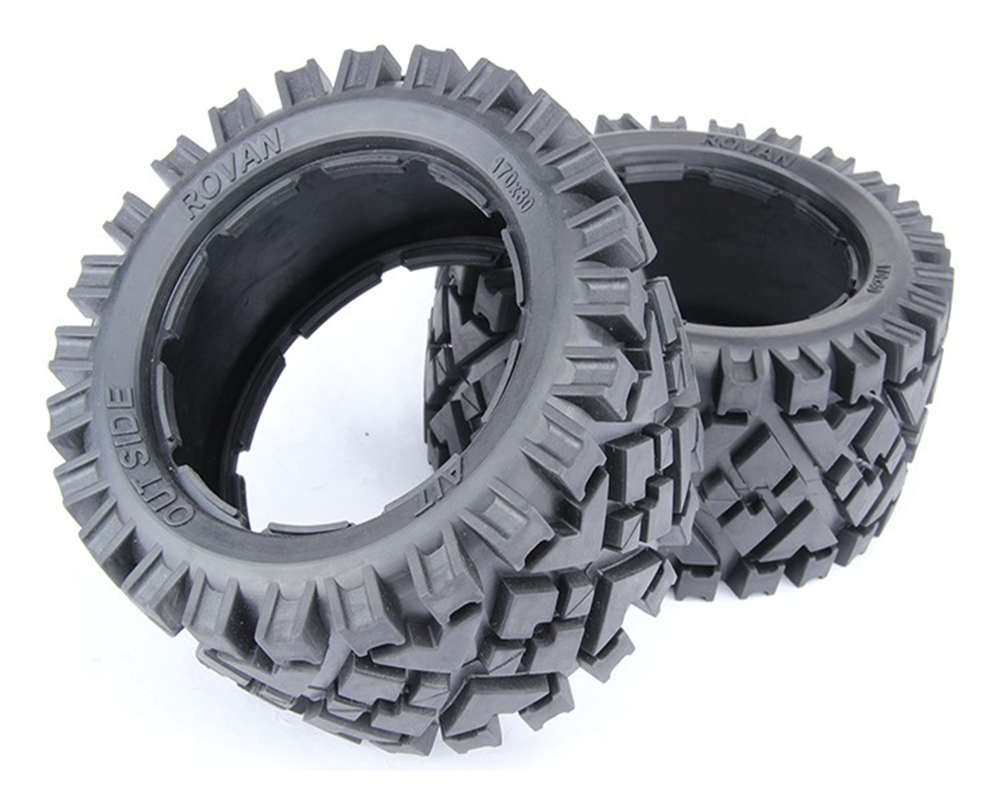 A pair <font><b>rc</b></font> car All terrain rear tires skin without inner foam for <font><b>1:5</b></font> <font><b>scale</b></font> HPI RACING baja 5B 5T 5SC LOSI TDBX spare <font><b>parts</b></font> image