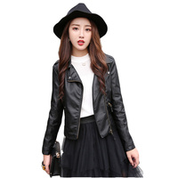 Women Student Winter 2017 Spring Autumn Winter Korean Pu Short Jacket With Velvet Black XXXL Plus
