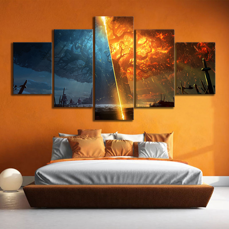 5 Piece Teldrassil Burning World of Warcraft Battle for Azeroth Game Posters Canvas Painting Wall Art for Home Decor 1