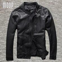 Black genuine leather jacket coat men 100% sheepskin motorcycle jackets chaqueta moto hombre veste cuir homme cappotto LT983